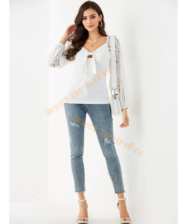 White Lace V-Neck Lace Up T-Shirt