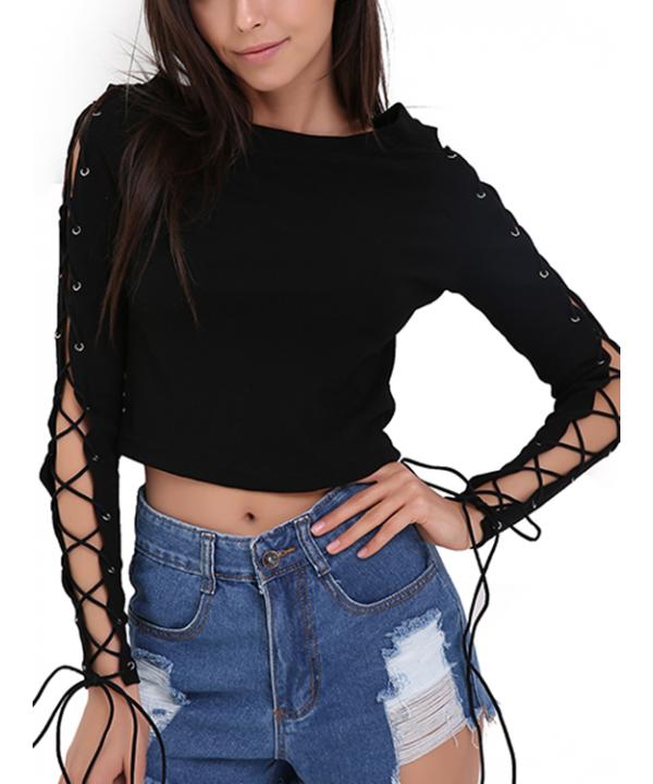 Stylish Dome Black Lace Up Long Sleeve T-Shirt