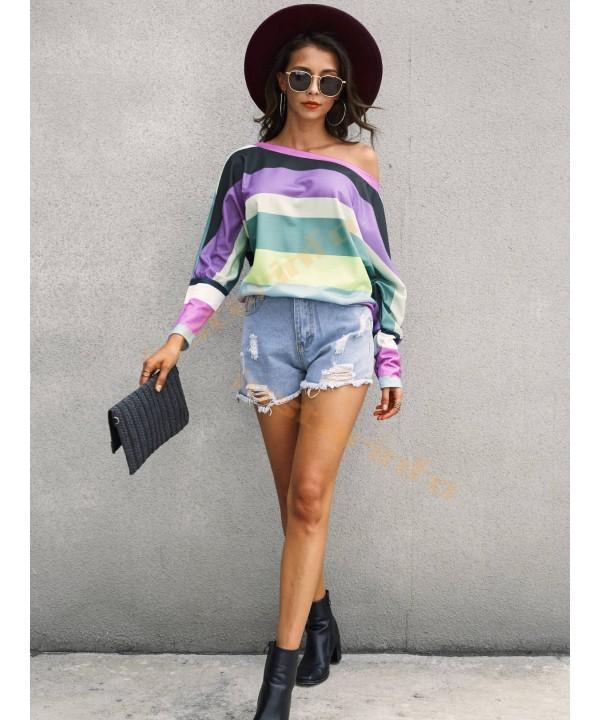 Color Block One Shoulder Long Sleeve T-Shirt