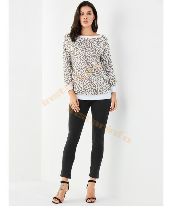 White leopard crew neck long sleeve T-shirt