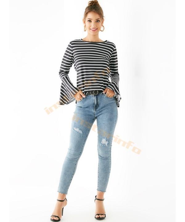 Black Striped Round Neck Long Sleeve T-Shirt