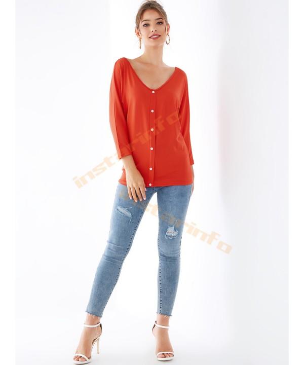 Orange V-neck button long bat sleeve reversible T-shirt