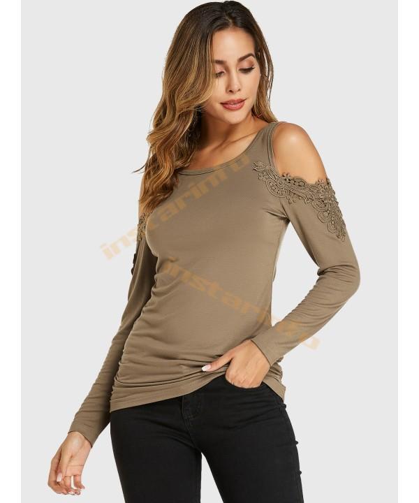Khaki Crochet Lace Trim Cold-Sleeve Long Sleeve T-Shirt