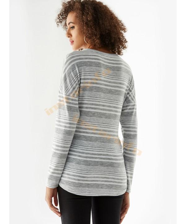Grey Lace-Up Striped V-Neck Long Sleeve T-Shirt
