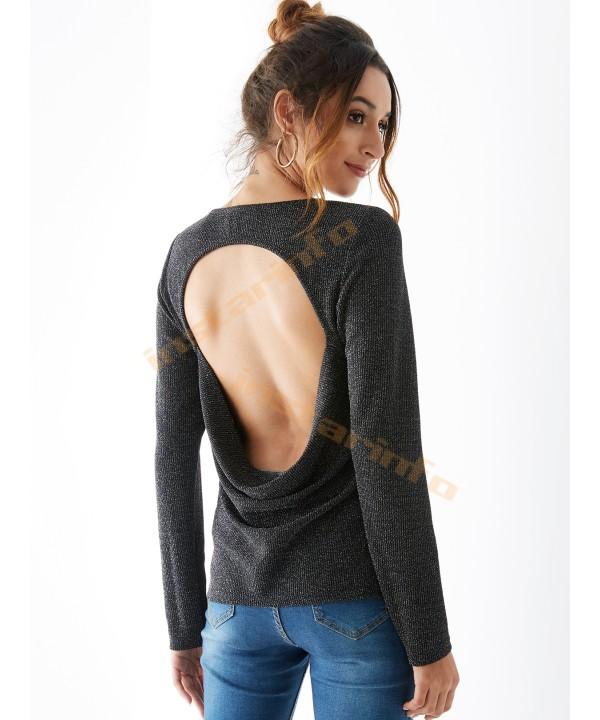 Black Round Back Long Sleeve T-Shirt