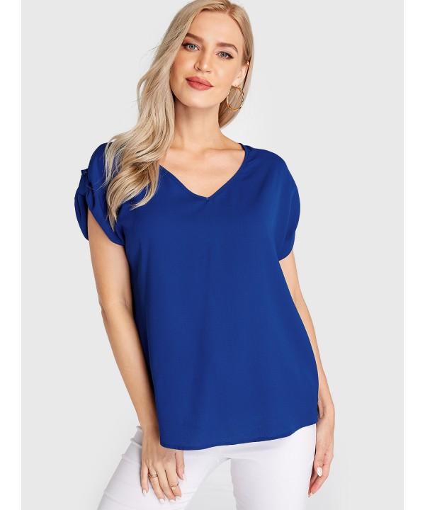 Blue V-neck short sleeve T-shirt