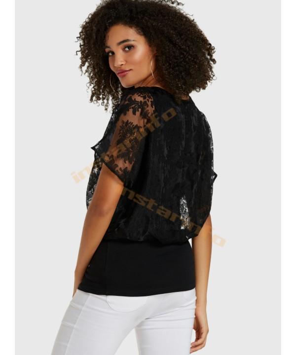 Black Lace Crew Neck Lined T-Shirt