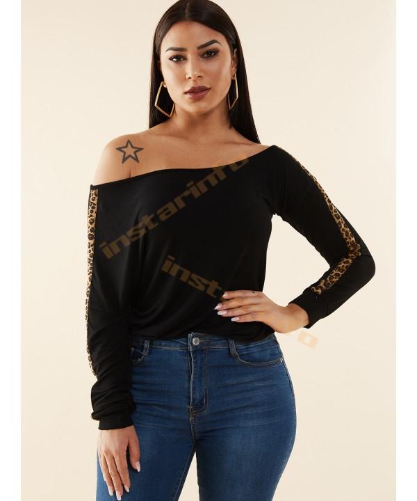 Black One Shoulder Long Sleeve Leopard T-Shirt