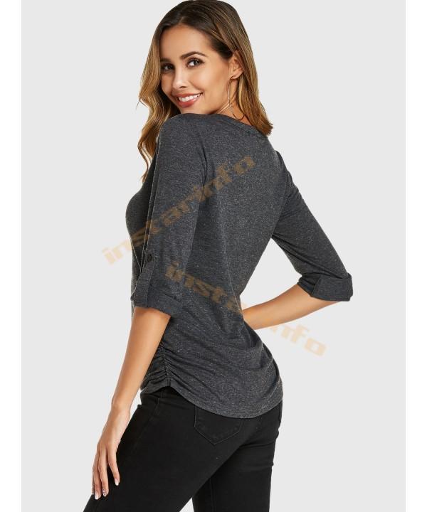 Dark Grey V-Neck Adjustable Strap T-Shirt