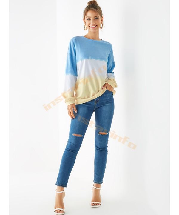 Blue gradient round sweater