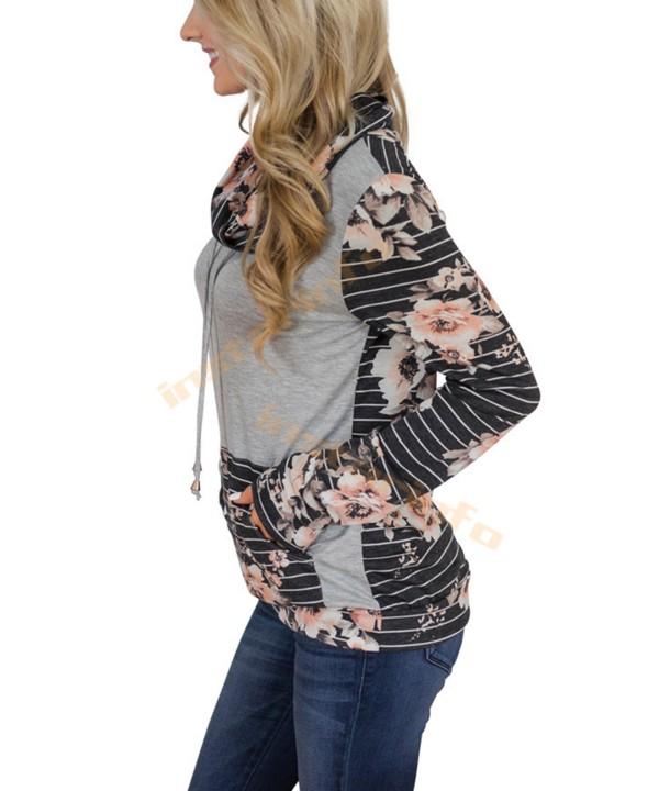 Patchwork floral print hoodie