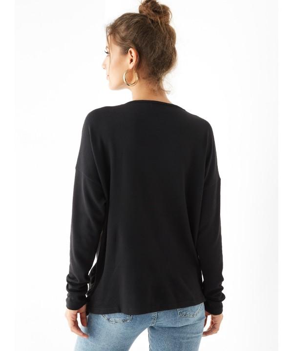 Black Denim Neck Button Design Long sweatshirt