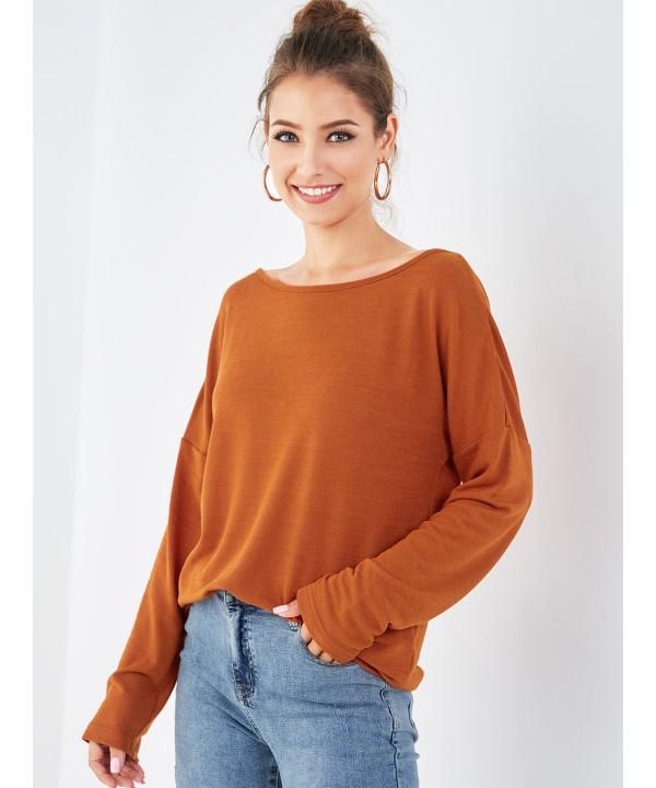 Orange back cross - neck sweatshirt