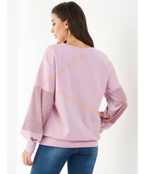 Pink velvet spliced turtleneck puffy-sleeve sweatshirt