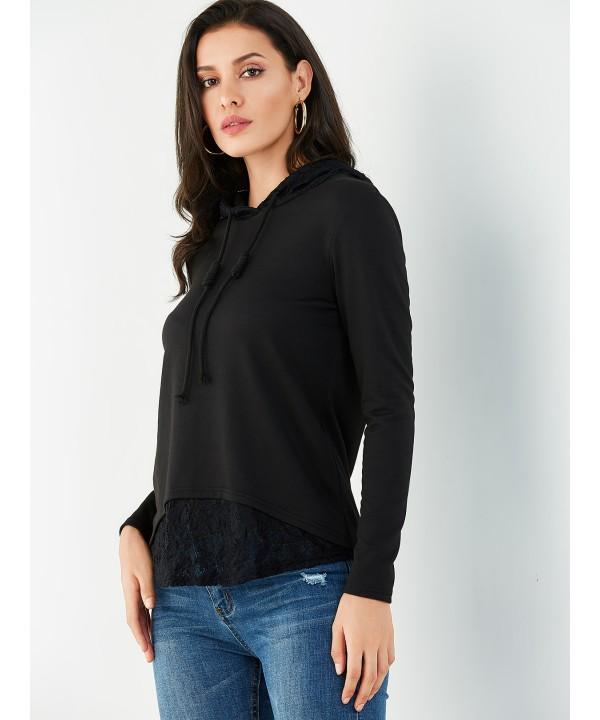Black lace-up long sleeve hoodie