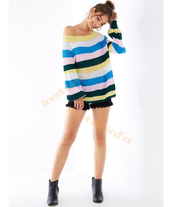 Multicolored striped open-shouldered lantern sleeve knit jumper