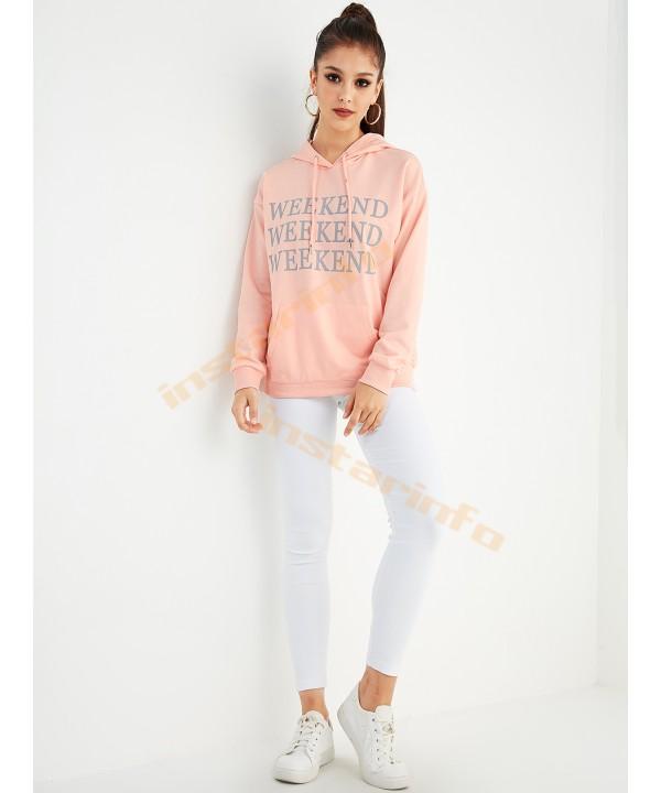 Bare pink letter drawstring design kangaroo pocket hoodie