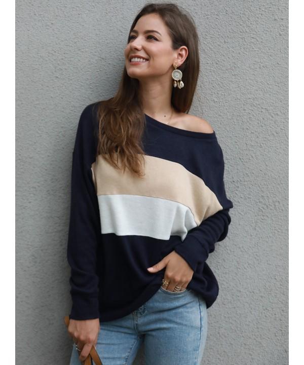 Colour block wide crew-neck sweatshirt