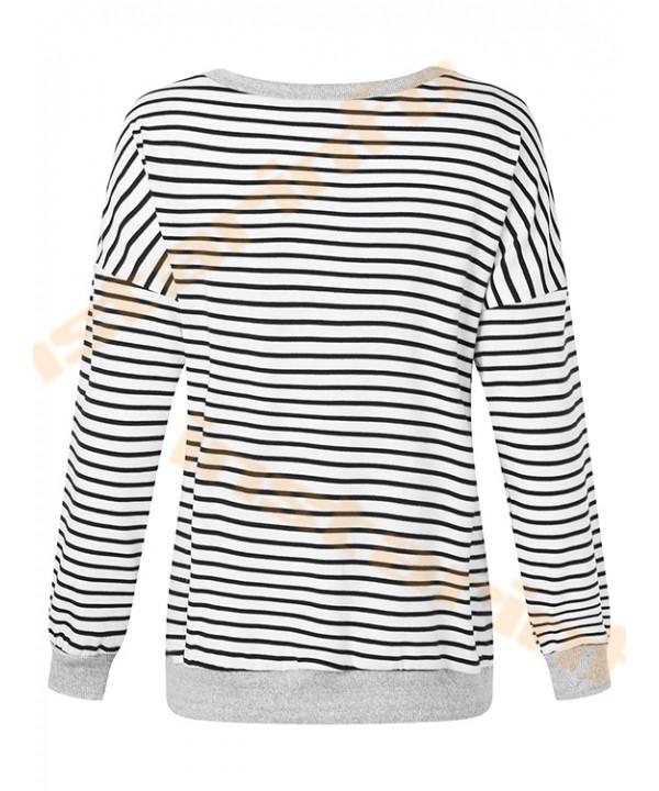 Basic striped v-neck sweatshirt with long sleeves