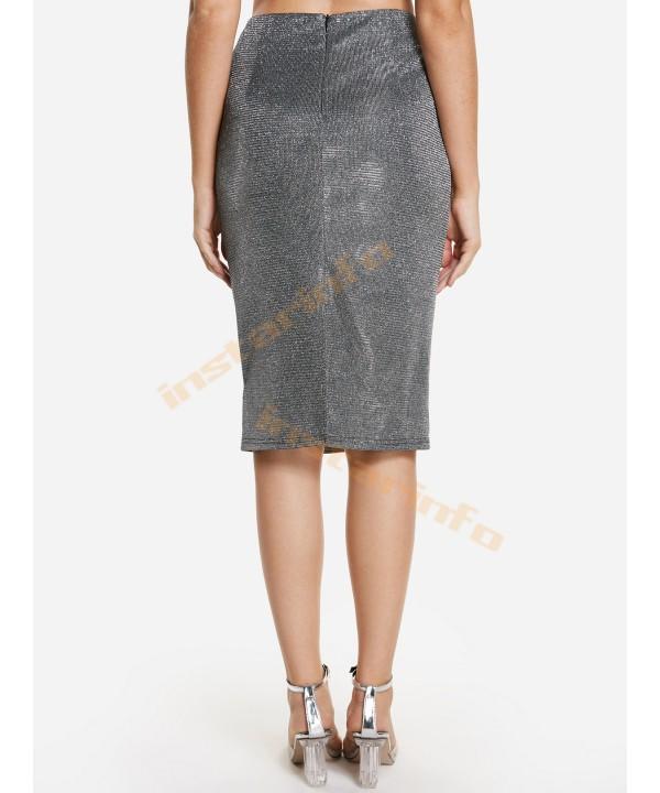 Silver high-waisted slit metal skirt