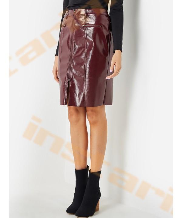 Fuchsia zipper design for PU skirt