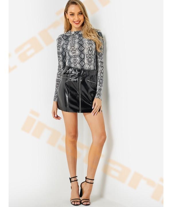 Black zipper design with belt PU skirt