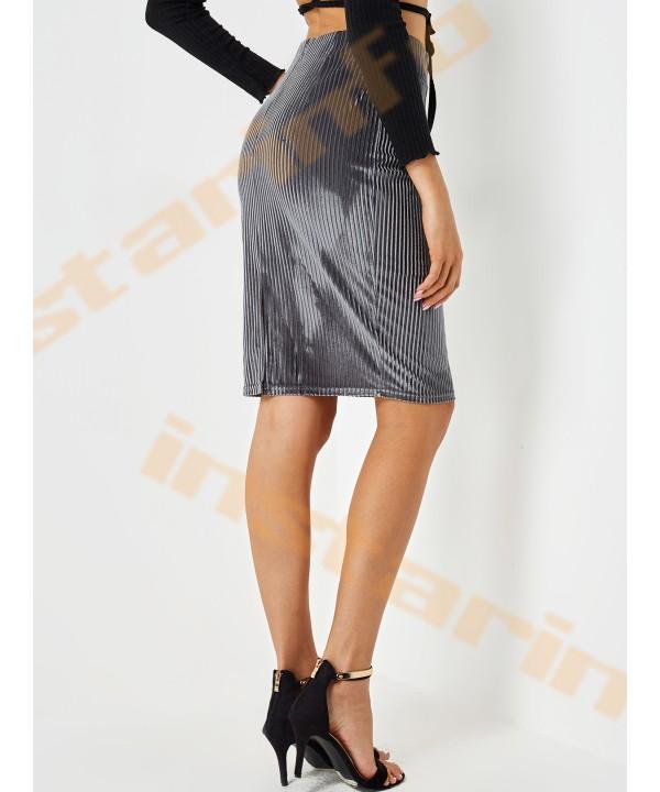 Grey ribbed detail high-waisted skirt