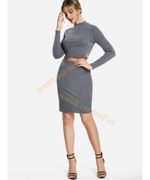 A slim grey skirt