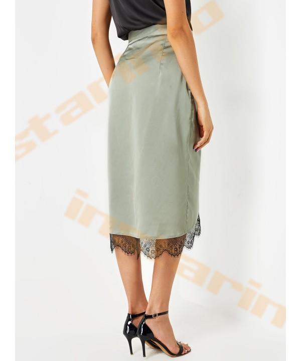 Green lace border high-waisted slit skirt