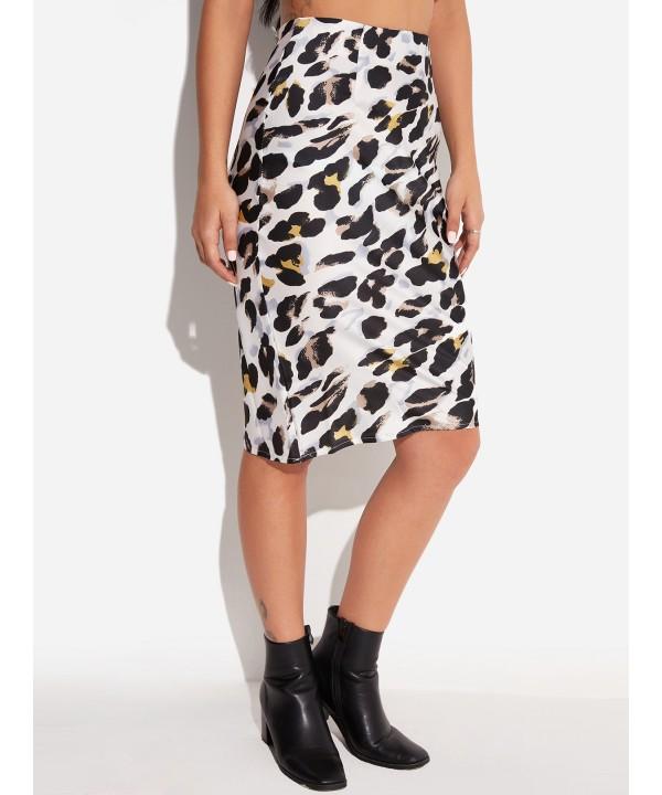 White leopard-print high-waisted, tight, knee-length skirt