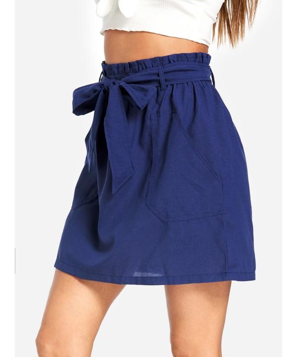 Dark blue large bow side pocket skirt