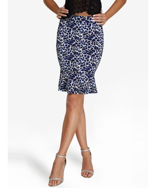 Blue Leopard Frilled Skirt