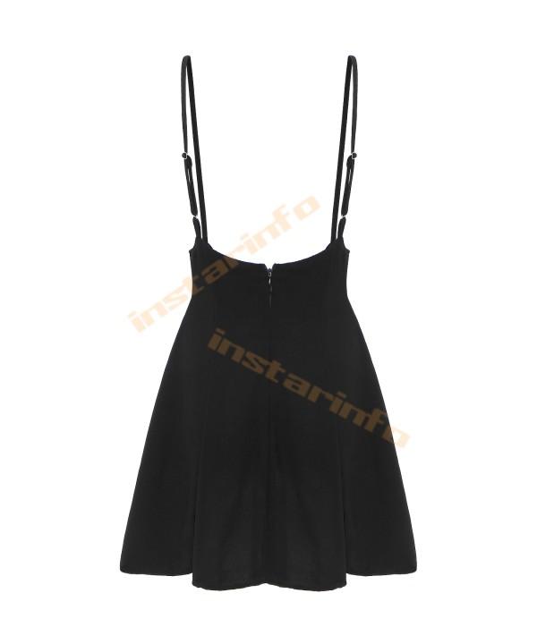 Black flounce strap skirt