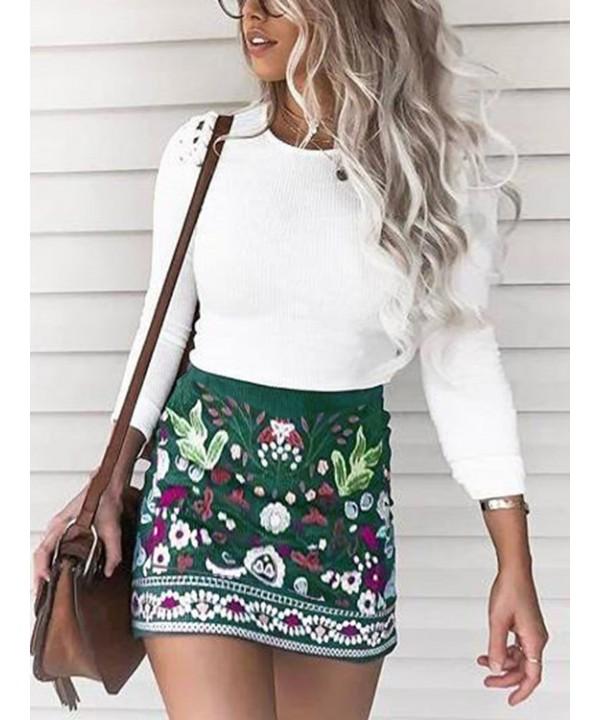 Green A-line Print Miniskirt