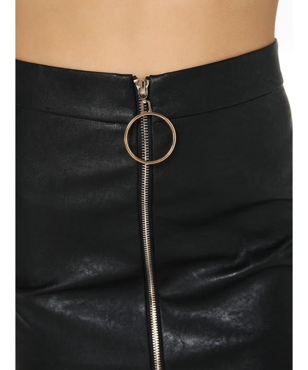 Black Fashion PU Circle Zip Front Skirt
