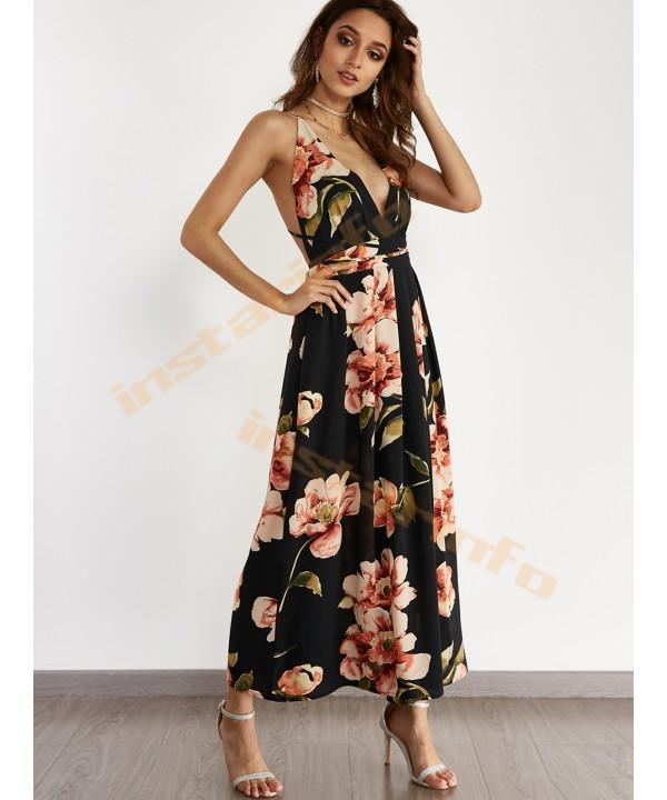 Black Sexy V-Neck Casual Print Dress