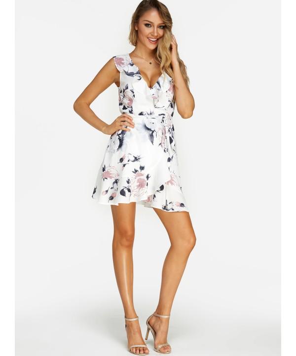 White Casual Printed V-neck Sleeveless Waist Dress