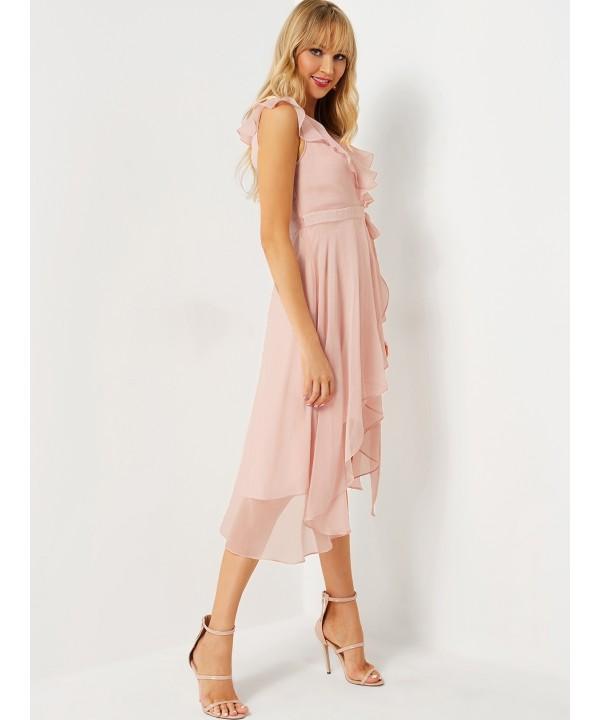 Pink Wrinkled Detail Wrap Dress