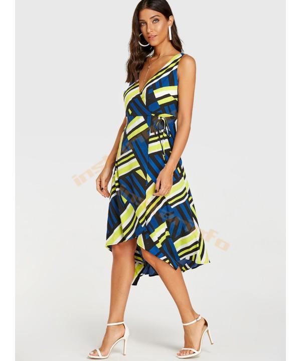 Printed v-neck sleeveless wrap dress