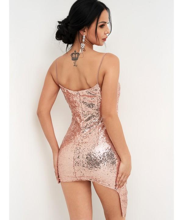 Pink V-Neck Wrap Dress with Crossed Front Sew Hem