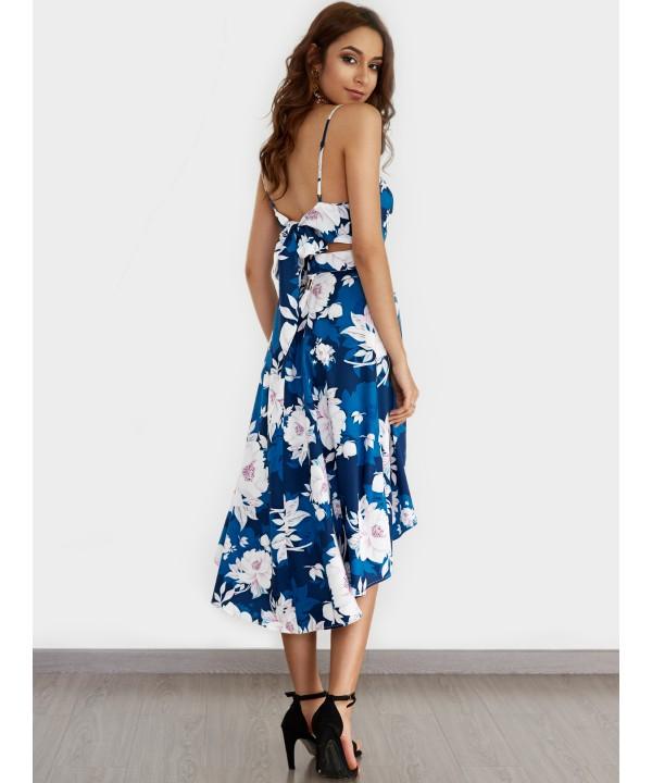 Blue Backless Printed Deep V-Neck Lace Wrap Dress