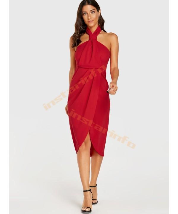 Red Halter Wrapped Design Zip Back Sleeveless Dress