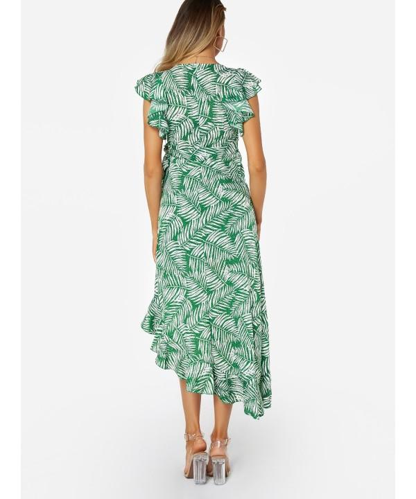 Green Lace Up Patterned Print V-neck Irregular Frill Dress