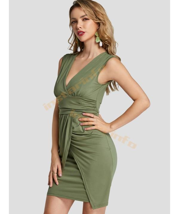 Army Green V-neck Sleeveless Folded Mini Skirt