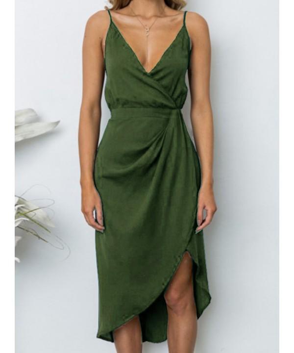 Army green v-neck ruffled asymmetric wrap midi skirt