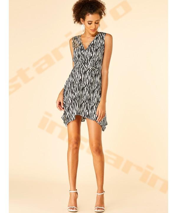 V-neck sleeveless dress with zebra print