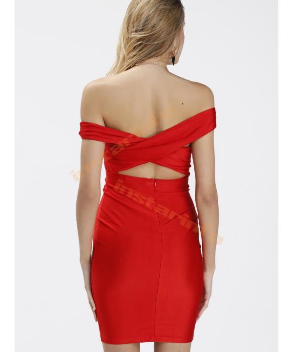Red Cropped Plain Sleeveless Midi Skirt