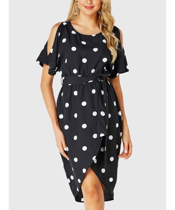 Black Polka Dot Cold Shoulder Knot Dress