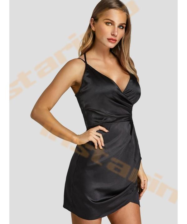 Black V-neck Cross Front Mini Wrap Dress
