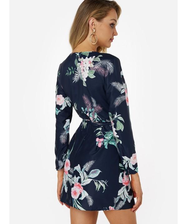 Navy Slit Design V-Neck Long Sleeve Wrap dress